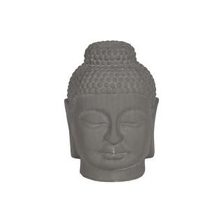 Ceramic Buddha Head Figurine With Rounded Ushnisha, Gray