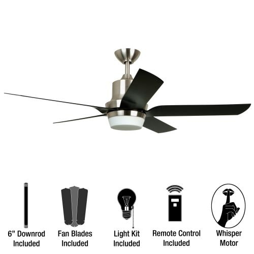 """Miseno MFAN-100 Modern 52"""" Indoor Ceiling Fan with Integrated Light Kit - Includes Portable Remote C"""
