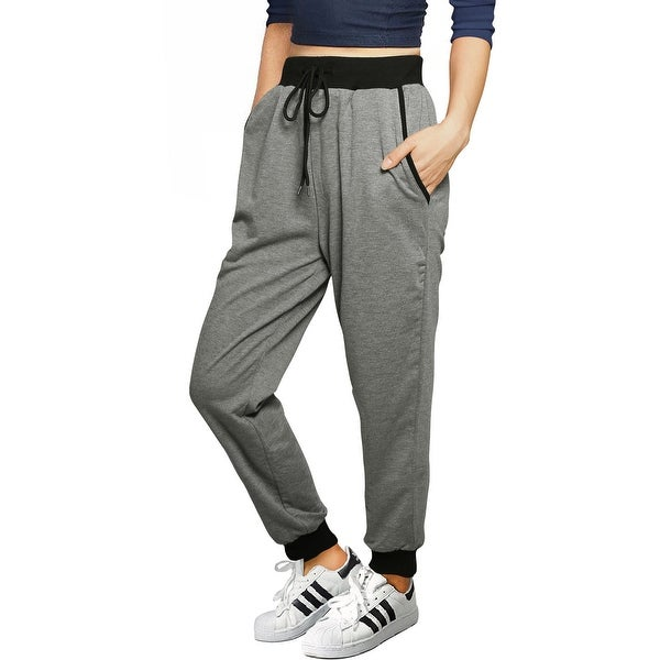 Women Drawstring Elastic Band Contrast Color French Terry Jogger Pants. Opens flyout.