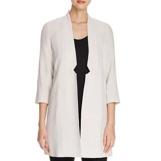 Eileen Fisher Womens Petites Open-Front Blazer Silk Notch Collar - pm