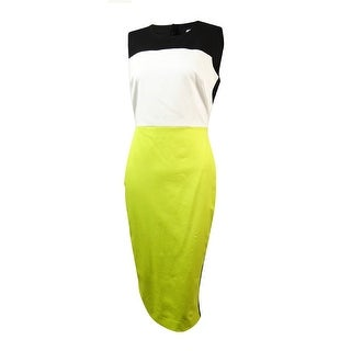 Calvin Klein Women's Colorblocked Pencil Sheath Dress - black/white/citron