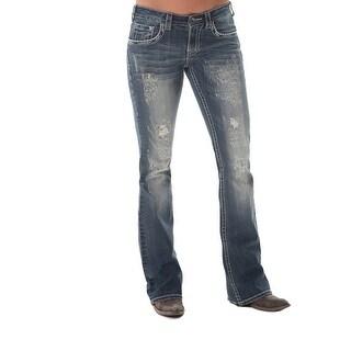 Cowgirl Tuff Western Denim Jeans Womens Fearless Bling Med Wash JFLBIG