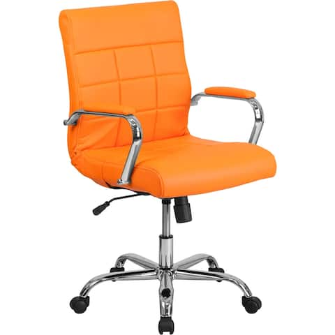 Aberdeen Mid-Back Orange Vinyl Executive Swivel Chair w/Chrome Base & Arms