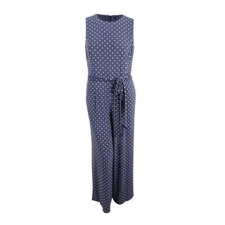 Lauren Ralph Lauren Women's Belted Polka Dot Jersey Jumpsuit