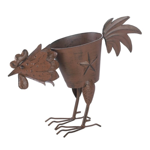 Antique Pecking Rooster Iron Planter