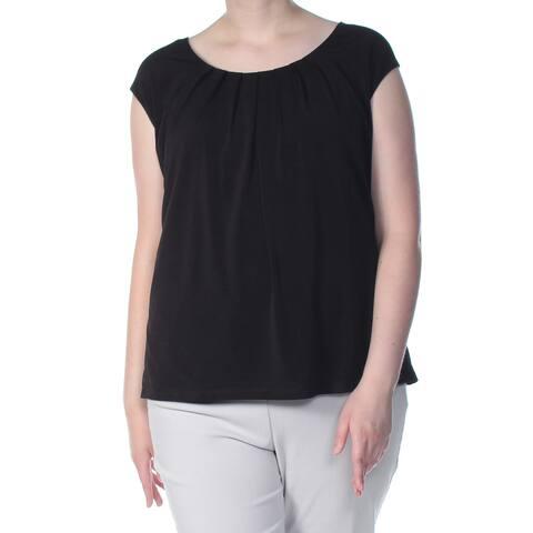 KASPER Womens Black Pleat Neck Crepe Cap Sleeve Top Plus Size: 3X