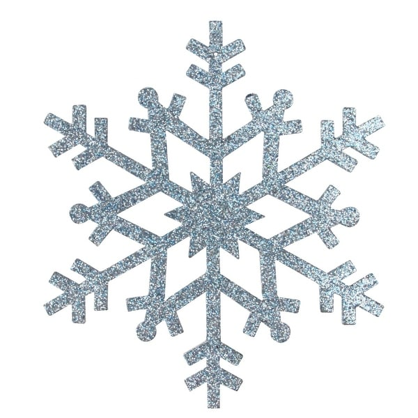 "4.75"" ight Blue Glittered Snowflake Christmas Ornament"