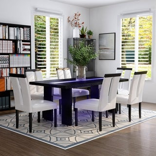 Link to Furniture of America Lumina 7-piece Light Up Two-tone Dining Set Similar Items in Dining Room & Bar Furniture