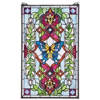 Design Toscano Butterfly Utopia Tiffany-Style Stained Glass Window