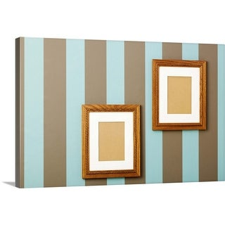 """""""Striped wallpaper with empty wood frames on walls"""" Canvas Wall Art"""