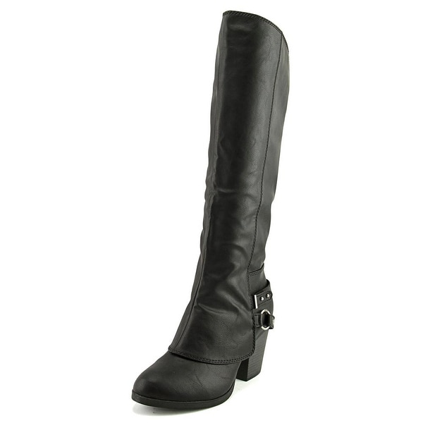 American Rag Aeboni Women Round Toe Leather Black Mid Calf Boot