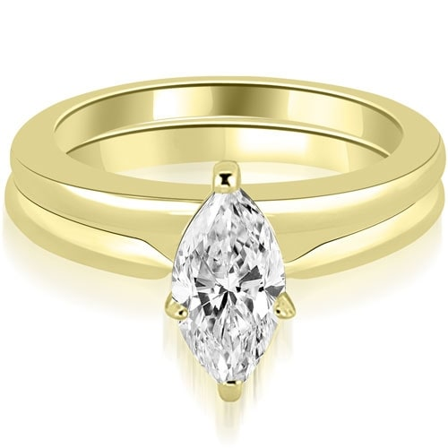 0.50 cttw. 14K Yellow Gold Classic Solitaire Marquise Cut Diamond Bridal Set