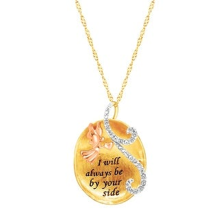 Crystaluxe Angel Pendant with Swarovski Crystals in 18K Three-Tone Gold-Plated Sterling Silver - White