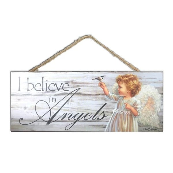 """White and Gray Angel Printed Rectangular Wall Sign with Rope Hanger 4"""" x 10"""" - N/A"""