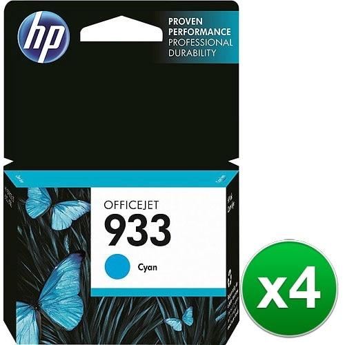 HP 933 Cyan Original Ink Cartridge (CN058AN)(4-Pack)