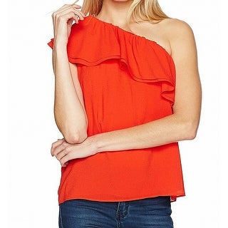 Rebecca Taylor NEW Orange Womens Size 2 One-Shoulder Ruffle Blouse