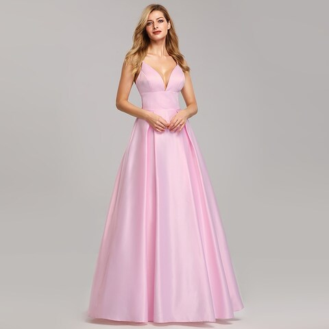 Ever-Pretty Womens Sexy Deep V-Neck Satin Prom Dance Homecoming Party Dress 07927