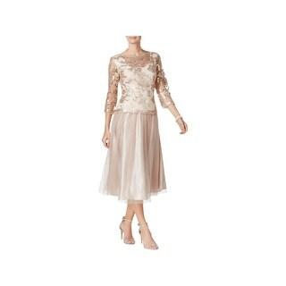 Alex Evenings Womens Petites Evening Dress Tea-Length Embroidered