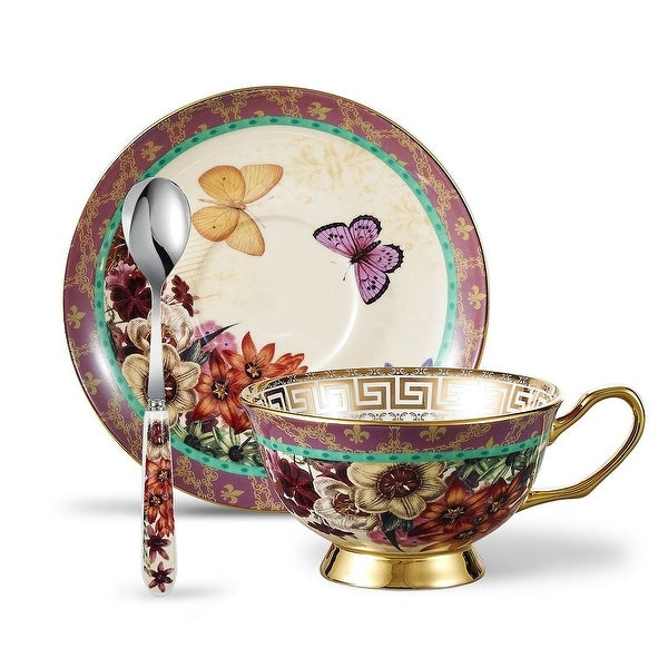 Panbado Bone China Floral Decals Tea Cup with Saucer Spoon. Opens flyout.