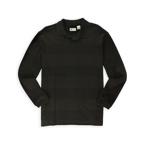 Haggar Mens Marled Grid Henley Sweater
