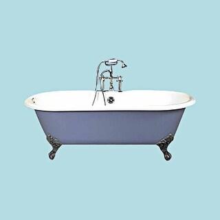 cast iron clawfoot tub dual end iron feet deck mount