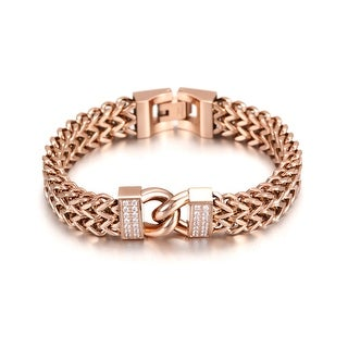Double Chain Link Maille Bangle Bracelet, Rose Gold