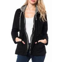 Love Tree Black Gray Womens Size Small S Full Zip Hooded Jacket