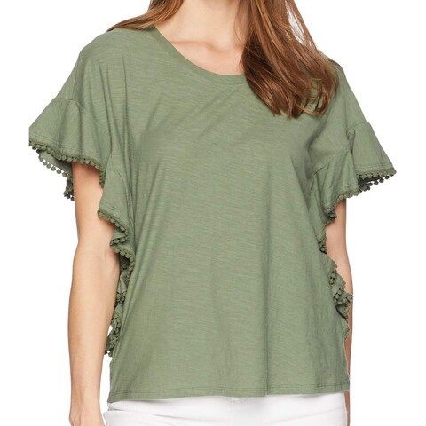 "Vince Camuto Green Women's Size Small S ""Pom Pom"" Trim Blouse"