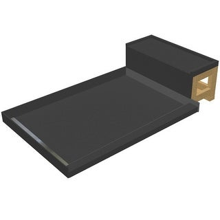 """Tile Redi WF4848L-RB48-KIT  Base'N Bench 60"""" X 48"""" Three Wall Alcove Shower Pan with Single Threshold, Bench, and 2"""" Left-Side"""