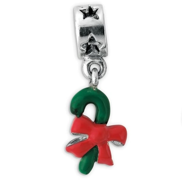 Sterling Silver Reflections Green Enameled Candycane Dangle Bead (4mm Diameter Hole)