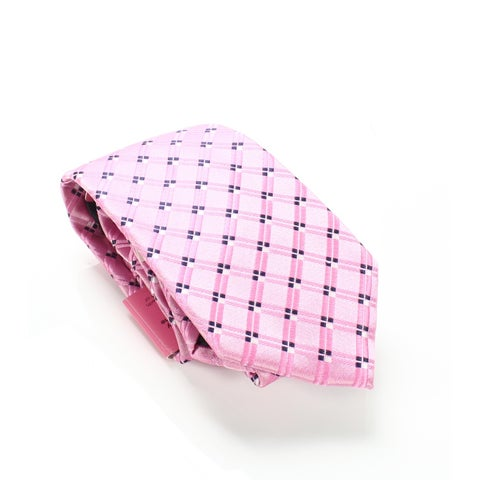 Susan G. Komen Pink Men's One Geometric Print Grid Size Neck Tie
