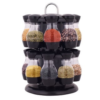 Costway 16 Jar Revolving Spice Rack Herb Rotating Countertop Storage Organization