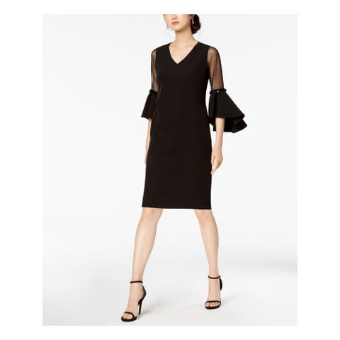 MSK Black Bell Sleeve Knee Length Sheath Dress Size 8P