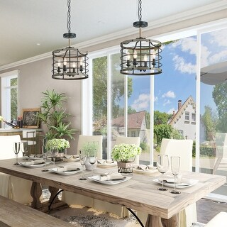 """Link to Modern Farmhouse 4-lights Faux Wood Drum Foyer Mini Pendant Chandelier for Kitchen Island,Dining Room - D14.2""""*H17.3"""" Similar Items in Pendant Lights"""