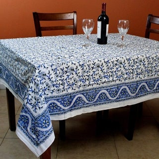 Hand Block Printed Cotton Floral Tablecloth Square Round 72 inches Blue Green - 72 x 72 inches