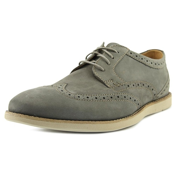 Clarks Raharto Wing Men Wingtip Toe Leather Gray Oxford