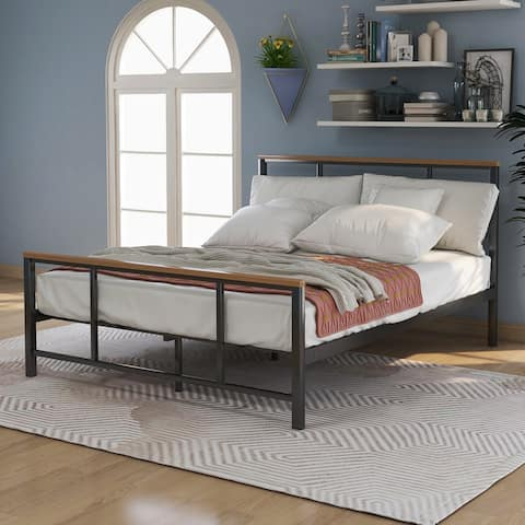 AOOLIVE Sturdy Steel Metal Bed with Wood Decoration, Twin Size