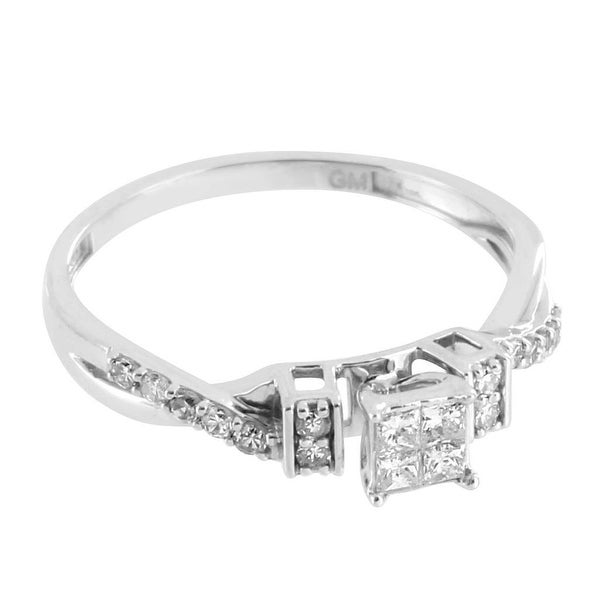 4 Princess Cut Ring 10k White Gold Genuine Diamonds Engagement Wedding Bridal