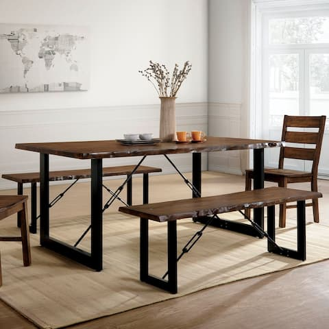 Furniture of America Mass Industrial Walnut 70-inch Dining Table