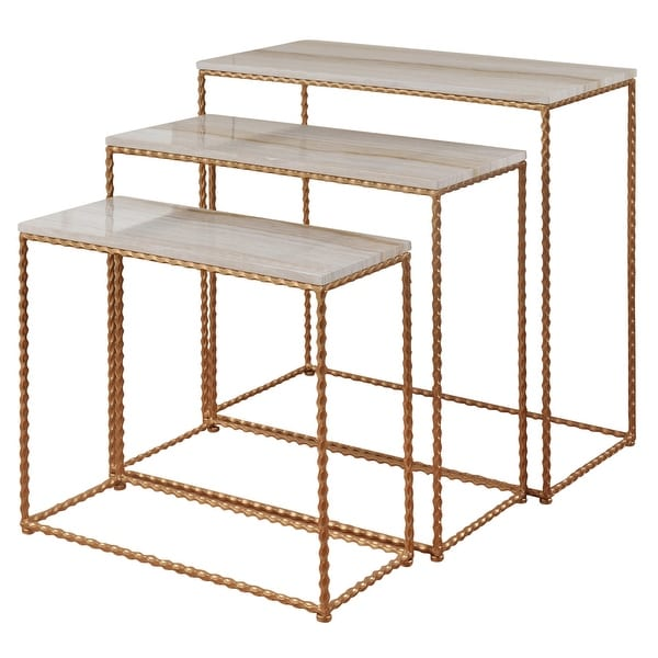 StyleCraft SC-SF234962 Multiple Sized Wood and Steel Nesting Table - - Set of (3) - Faux Marble