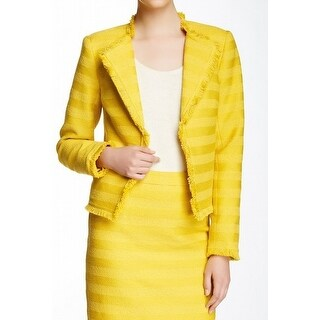 Trina Turk NEW Daisy Yellow Womens Size 12 Striped Frayed-Hem Jacket