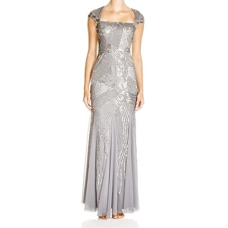 Adrianna Papell NEW Silver Women's Size 10 Sheath Embellished Dress
