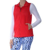 Tommy Hilfiger Red Perforated Womens Medium M Zip-Front Vest Jacket