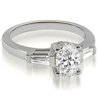0.75 cttw. 14K White Gold Oval and Baguette Three Stone Diamond Engagement Ring