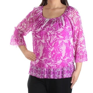Womens Purple Floral 3/4 Sleeve Jewel Neck Casual Top Size XL