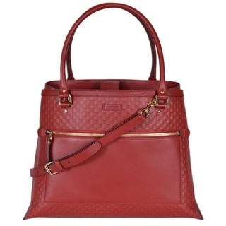 """Gucci Women's 510290 Red Leather Micro GG Large Purse Handbag Tote W/Strap - 16"""" (at bottom)/12.5"""" (at top) x 12"""" x 9"""""""