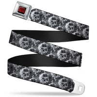 Suicide Squad Logo Full Color Black Red Suicide Squad Skulls Scattered Seatbelt Belt