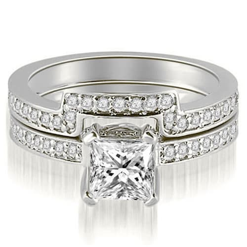 1.15 cttw. 14K White Gold Princess And Round Cut Diamond Bridal Set