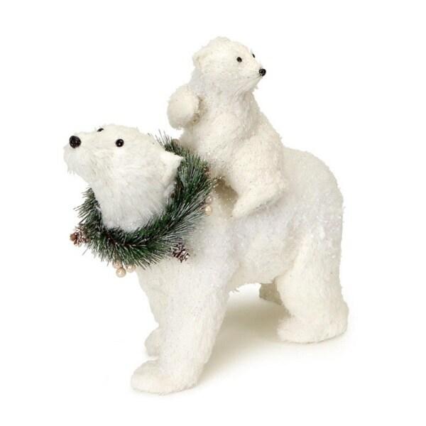 "11.5"" Glittered White Sisal Polar Bears Decorative Christmas Table Top Figure"