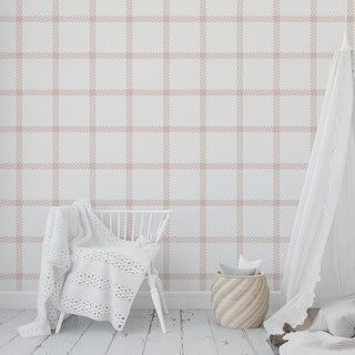 CHRISTMAS IN CONNECTICUT PINK Peel and Stick Wallpaper By Kavka Designs